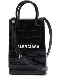 Balenciaga ショッピング ミニ クロコダイルパターンレザーバッグ - ブラック