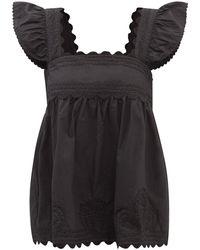 Juliet Dunn Ruffle-strap Cotton-poplin Top - Black