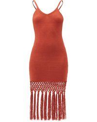 JoosTricot Tasselled Linen-blend Jersey Dress - Red