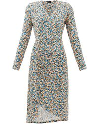 Atlein Gathered Floral-print Jersey Wrap Dress - Blue