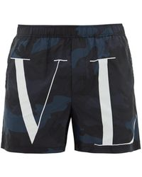 Valentino - Camouflage And Vltn Print Swim Shorts - Lyst