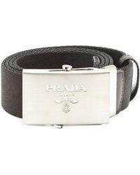 Prada - Leather Trimmed Canvas Belt - Lyst