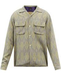 Needles キューバンカラー アーガイルジャカードシャツ - グレー