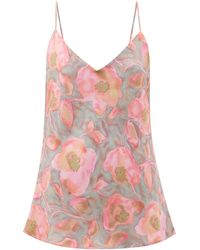 Raey Watercolour Floral-print Silk Cami Top - Pink