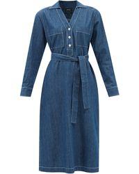 A.P.C. エブリン ベルテッド デニムシャツドレス - ブルー