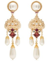 Dolce & Gabbana Crystal And Faux-pearl Drop Clip Earrings - Purple