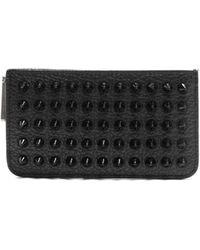 3c29ea45fc8 Credilou Spike Embellished Leather Cardholder - Black