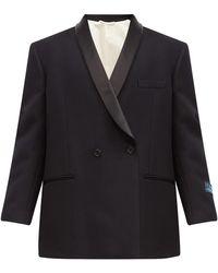 Raf Simons サテンラペル ウール ダブルスモーキングジャケット - ブラック