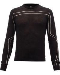 Rick Owens インターシャボーダー ウールセーター - ブラック