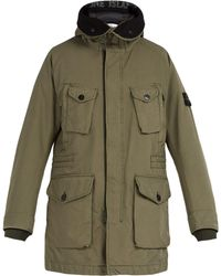 Stone Island Long-line Down-filled Hooded Coat - Green