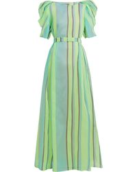 Vika Gazinskaya Puff-sleeved Striped Organza Gown - Green
