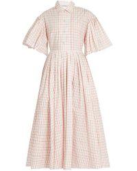 Vika Gazinskaya Checked Cotton-poplin Dress - Pink