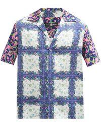 Edward Crutchley フローラルチェック シルクシャツ - ブルー