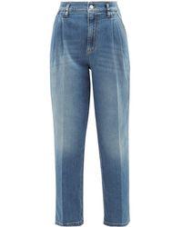 RED Valentino ハイライズ タック テーパードジーンズ - ブルー