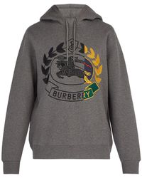 Burberry Knight Embroidered Hooded Sweatshirt - Gray