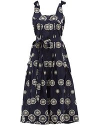 Evi Grintela Floral-embroidered Cotton Midi Dress - Blue