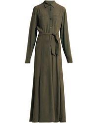 Albus Lumen - Azul Belted Crepe Maxi Dress - Lyst