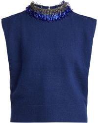 Toga - Beaded Sleeveless Wool Blend Jumper - Lyst