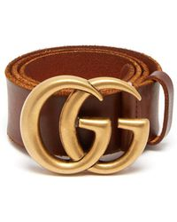 Gucci - Gg Plaque Leather Belt - Lyst