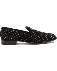 Balmain Crystal-embellished Suede Loafers - Black