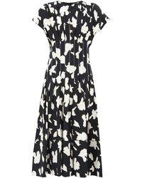 Proenza Schouler プリーツ フローラルクレープドレス - ブラック