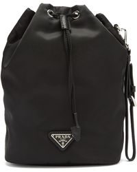 Prada Logo-patch Nylon Bucket Bag - Black