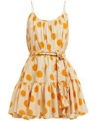 RHODE Nala Belted Marigold-print Cotton Dress - Orange