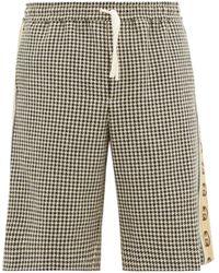 Gucci Logo-stripe Houndstooth Shorts - Grey