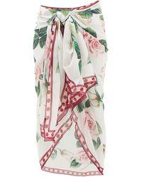 Dolce & Gabbana Rose-print Silk-crepe Sarong - Multicolour