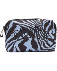Ganni Logo-embroidered Tiger-print Makeup Bag - Blue