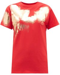 Germanier Painted Cotton-jersey T-shirt - Red