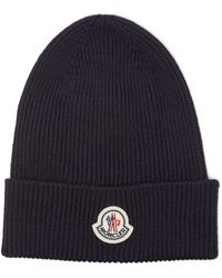 Moncler Logo-patch Ribbed-knit Wool Beanie Hat - Blue
