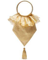 The Vampire's Wife Tassel Embellished Woven Clutch - Metallic