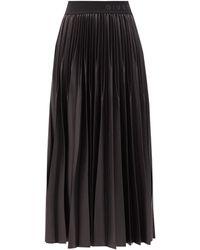 Givenchy Jupe midi en faille plissée à taille ornée du logo - Noir
