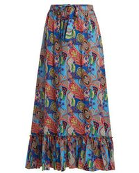 Etro - Abstract Floral-print Ruffle-trim Cotton Skirt - Lyst