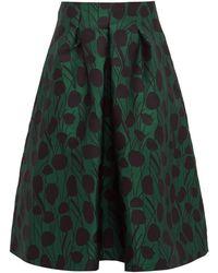 La DoubleJ Macaron Floral-jacquard Satin Pleated Skirt - Green