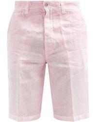 120% Lino 120% Lino リネン ストレートショートパンツ - ピンク