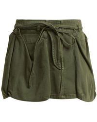 Valentino   Patch-pocket Tie-waist Cotton-denim Mini Skirt   Lyst