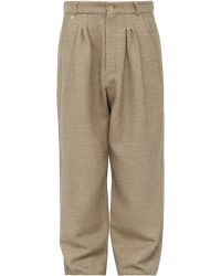 Bless High Rise Cotton And Silk Tweed Wide Leg Trousers - Natural