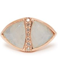 Jacquie Aiche - Diamond, Moonstone & Rose Gold Ring - Lyst