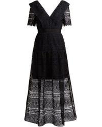 Self-Portrait - Robe midi en dentelle spirale - Lyst