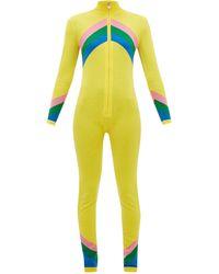 Perfect Moment Chevron-striped Merino-wool Jumpsuit - Yellow