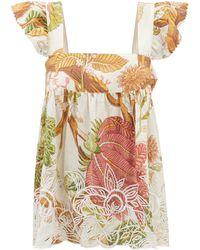 Juliet Dunn Ruffle-strap Floral-print Cotton-voile Top - Multicolour