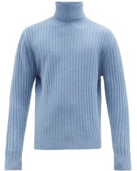 Allude Ribbed Roll Neck Wool Sweater - Blue
