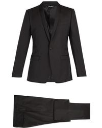 Dolce & Gabbana - Gold Fit Single Breasted Wool Blend Suit - Lyst