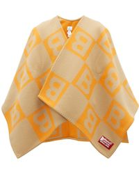 Burberry B-jacquard Merino Wool-blend Cape - Orange