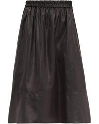 Tibi Liquid Drape フェイクレザースカート - ブラック