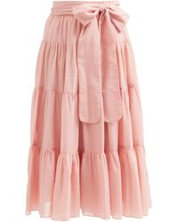 Loup Charmant Demeter Tiered Organic-cotton Midi Skirt - Pink