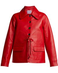 ALEXACHUNG - Heart-patch Leather Jacket - Lyst