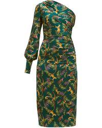 Adriana Iglesias - Gina Tiger-print Ruched Silk-blend Dress - Lyst